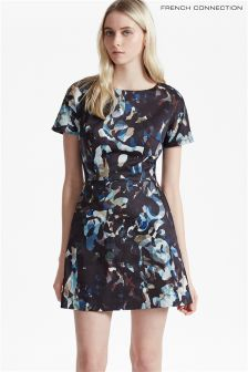 French Connection Black Multi Stretch Cotton Printed Dress