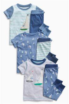 Blue Boat T-Shirt Pyjamas Three Pack (9mths-8yrs)