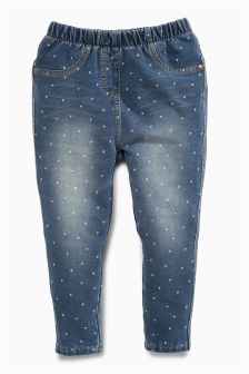 Denim Heart Print Jeggings (3mths-6yrs)