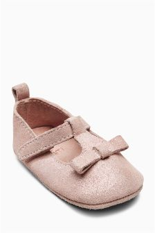 Pram T-Bar Bow Shoes (Younger Girls)