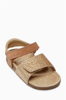 Bronze Glitter Corkbed Sandals (Younger Girls)
