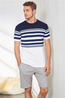 White/Navy Engineered Stripe Jersey Short Set