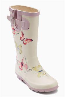 Cream Butterfly Print Wellington Boots (Older Girls)