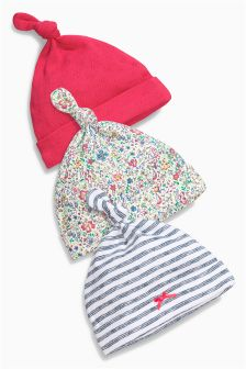 Pink Floral Tie Top Hats Three Pack (0-12mths)