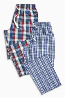 Navy/Red Check Long Bottoms Two Pack