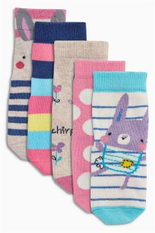 Multi Bunny Socks Five Pack (Younger Girls)