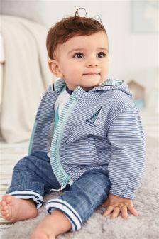 Blue/White Bold Stripe Jacket (0mths-2yrs)