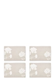 Set Of 4 Printed Woven Mats