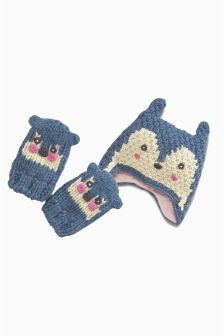 Blue Character Trapper And Mitts Set (3mths -6yrs)