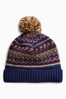 Navy Fairisle Pattern Bobble Beanie