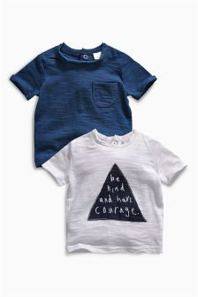 Navy/White T-Shirts Two Pack (0mths-2yrs)