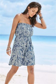 Printed Bandeau Tencel® Dress