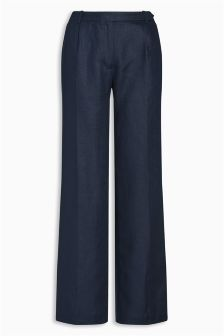 Navy Linen Slouch Trousers