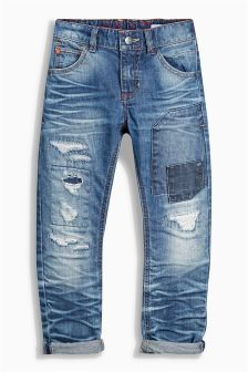 Denim Dk Blue Regular Distressed Patched Jeans (3-16yrs)