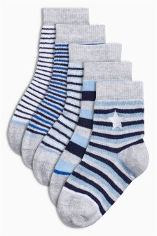 Blue Embroidered Stripe Socks Five Pack (0mths-12yrs)