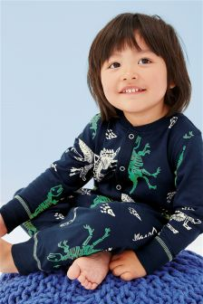Blue Dino All Over Print Sleepsuit (9mths-8yrs)
