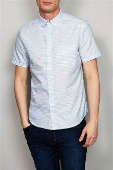 White/Blue Short Sleeve Textured Shirt
