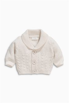 Ecru Shawl Collar Cardigan (0mths-2yrs)