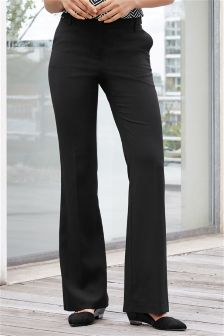 Black Textured Workwear Boot Cut Trousers