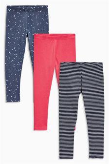 Red/Navy Print/Stripe Leggings Three Pack (3-16yrs)