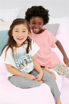Grey/Pink/White Butterfly Pyjamas Two Pack (3-16yrs)