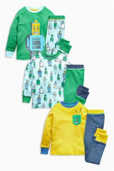 Multi Robot Pyjamas Three Pack (9mths-8yrs)