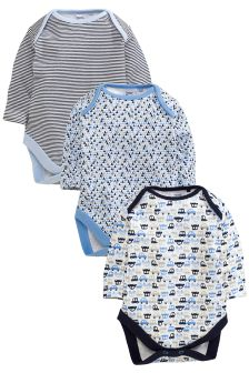 Three Pack Blue Ditsy Transport Long Sleeve Bodysuits (0mths-2yrs)