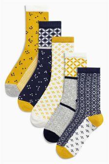 Navy Pattern Trainer Socks Five Pack
