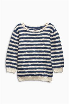 Cream/Navy Stripe Crew Neck Jumper (3mths-6yrs)