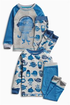 Multi Octopus Pyjamas Two Pack (9mths-8yrs)