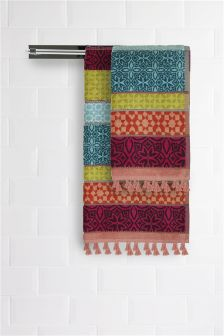 Multicolour Panel Towel With Tassels