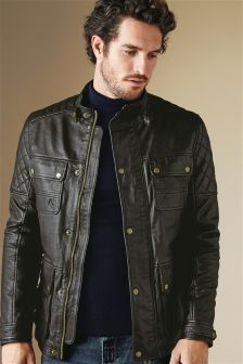 Next Mens Leather Jacket - Coat Nj