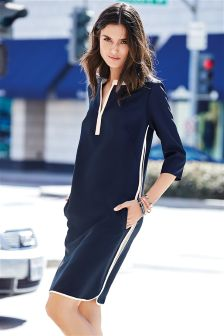 Navy Sporty Tipped Tunic
