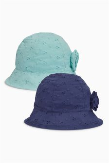 Navy/Mint Broderie Hat Two Pack (Younger Girls)