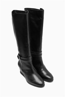 Black Strap Leather Long Boots