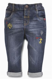 Mid Blue Embroidered Jeans (3mths-6yrs)