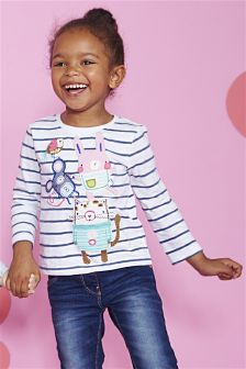 Ecru Stripe Character T-Shirt (3mths-6yrs)