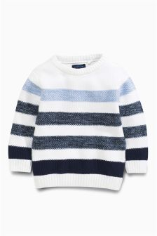 Blue/White Ombre Stripe Crew (3mths-6yrs)