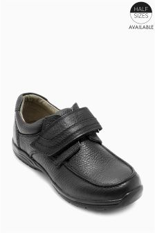 Black Premium Leather Single Strap Shoes (Older Boys)