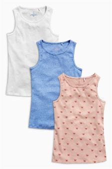 Pink Multi Vest Three Pack (3-16yrs)