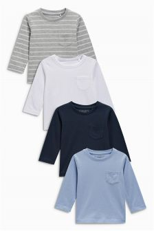 Blue Stripe Long Sleeve T-Shirts Four Pack (3mths-6yrs)