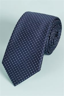 Signature Navy Spotted Tie