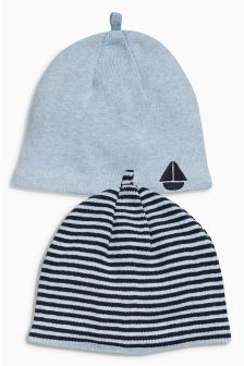 Blue Beanie Hats Two Pack (0mths-2yrs)