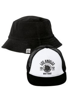 Black & White Cap And Fisherman's Hat Two Pack (Older Boys)