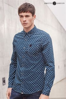 Navy Pretty Green Floral Dot Shirt