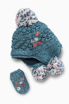 Denim Flower Trapper Two Piece Set (Younger Girls)