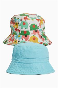 Multi Elephant Fisherman's Hats Two Pack (Younger Girls)