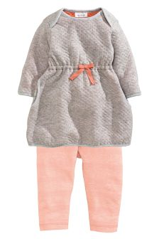 Grey Quilted Jersey Dress And Leggings Set (0-18mths)