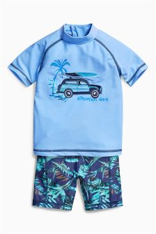Blue Car Two Piece Swim Set (3mths-6yrs)