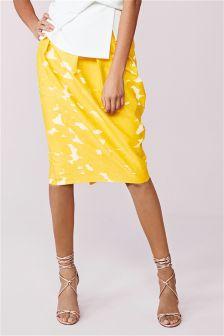 Yellow Jacquard Tulip Skirt